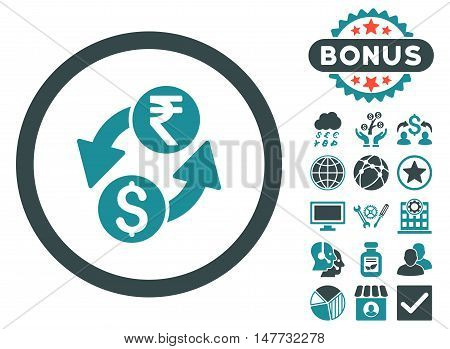 Dollar Rupee Exchange icon with bonus pictogram. Vector illustration style is flat iconic bicolor symbols soft blue colors white background.