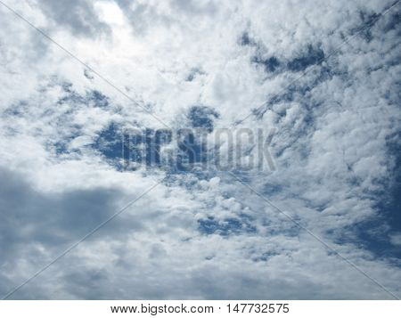 The clouds in the sky. Clouds on blue sky. Sky with clouds. Clouds background. Sky background. Nature.