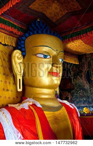 Statue Of Gautama Buddha At Shey Gompa In Leh, Ladakh, India