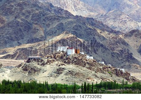 Thiksey Gompa in Ladakh Jammu and Kashmir India. It is noted for its resemblance to the Potala Palace in Lhasa Tibet and is the largest gompa in central Ladakh. The monastery is located at an altitude of 3600 m. in the Indus Valley. It is a twelve-story c