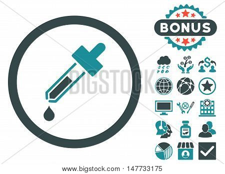 Dropper icon with bonus elements. Vector illustration style is flat iconic bicolor symbols, soft blue colors, white background.