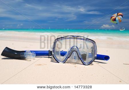 Snorkel equipment on a tropical beach