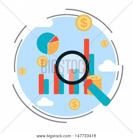 Business chart, financial statistics, market analysis, profit increase flat design style vector concept