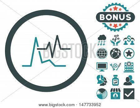 ECG icon with bonus symbols. Vector illustration style is flat iconic bicolor symbols, soft blue colors, white background.