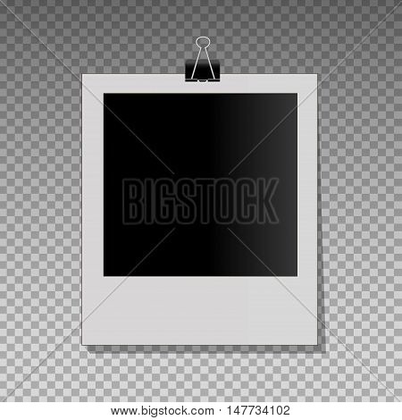 Realistic vector photo frame on black pin. Template photo design. Vector illustration