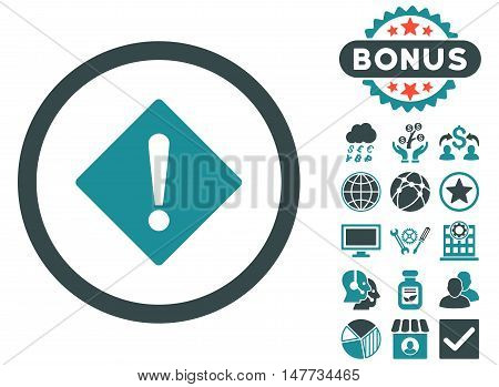 Error icon with bonus symbols. Vector illustration style is flat iconic bicolor symbols, soft blue colors, white background.
