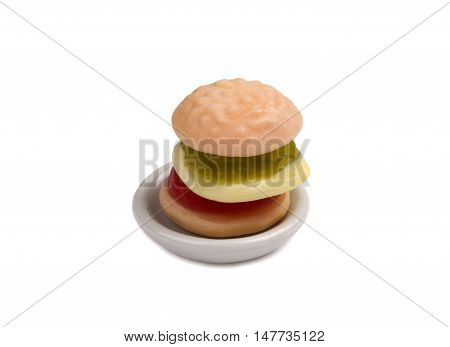 gummy hamburger candy gelatin on the white background