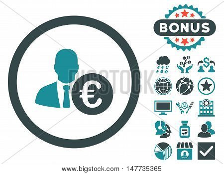 Euro Banker icon with bonus elements. Vector illustration style is flat iconic bicolor symbols, soft blue colors, white background.