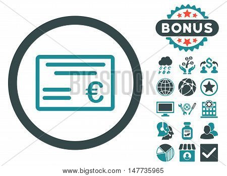 Euro Cheque icon with bonus symbols. Vector illustration style is flat iconic bicolor symbols, soft blue colors, white background.