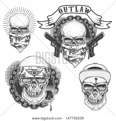 Set of gangster tattoo. Hand drawn skull with bandana. Skull in hat. Outlaw. Design elements for poster emblem t-shirt print. Vector illustration.