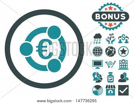 Euro Collaboration icon with bonus symbols. Vector illustration style is flat iconic bicolor symbols, soft blue colors, white background.