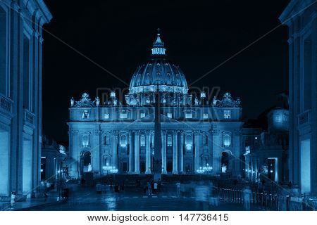 Vatican City St Peters Basilica at night.