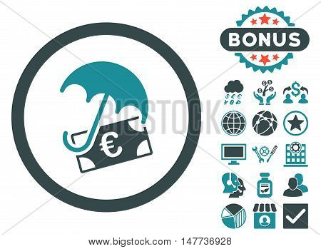 Euro Financial Umbrella icon with bonus elements. Vector illustration style is flat iconic bicolor symbols, soft blue colors, white background.