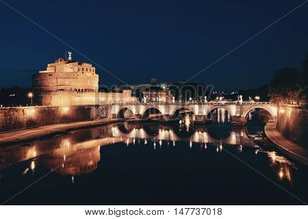 Castel Sant Angelo as the famous travel destination at night in Rome Italy