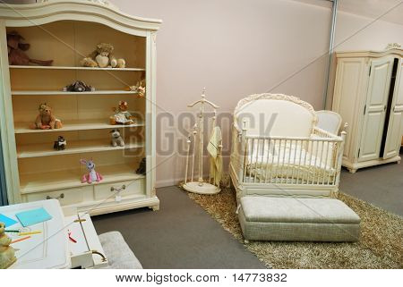 Old fashioned nursery interior baby room