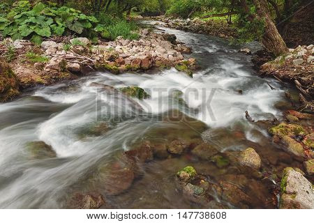 Gradac River Canyon. Long exposure of white water rapids and waves along section of the Gradac river, Serbia, Valjevo