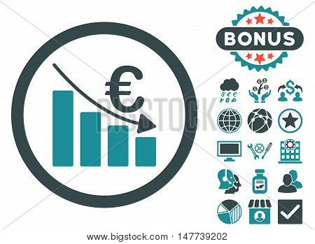 Euro Recession icon with bonus pictogram. Vector illustration style is flat iconic bicolor symbols, soft blue colors, white background.