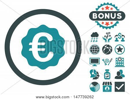 Euro Reward Seal icon with bonus pictures. Vector illustration style is flat iconic bicolor symbols, soft blue colors, white background.