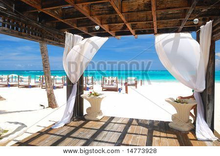Beautiful caribbean beach with gazebo in Dominican Republic