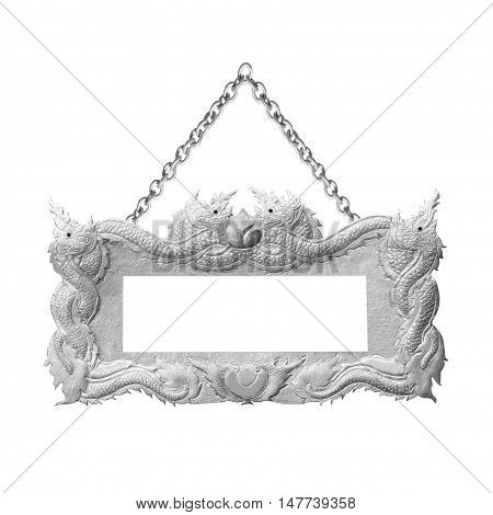 old Asian dragon decorative sign frame with chain - handmade engraved - isolated on white background