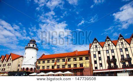 KALININGRAD RUSSIA - 12 AUGUST 2016: Part of buildings in the Rybnaya derevnya. Kaliningrad Russia.