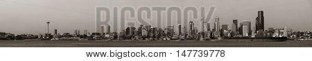 Seattle city skyline over sea panorama view