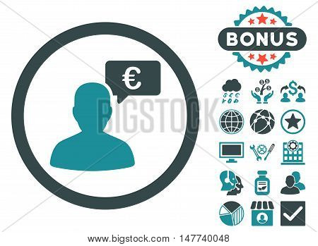 European Person Opinion icon with bonus pictures. Vector illustration style is flat iconic bicolor symbols, soft blue colors, white background.