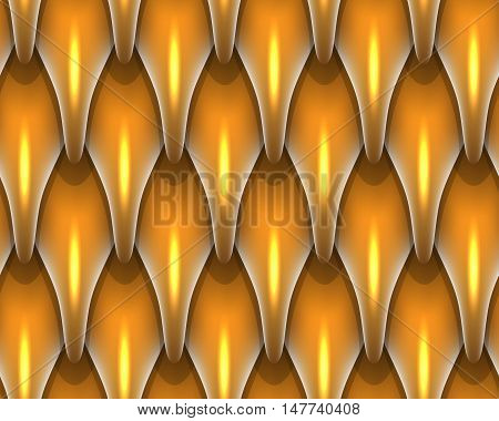 Golden dragon scales seamless background. Dragon scale seamless pattern. Fantasy dragon texture. Vector illustration