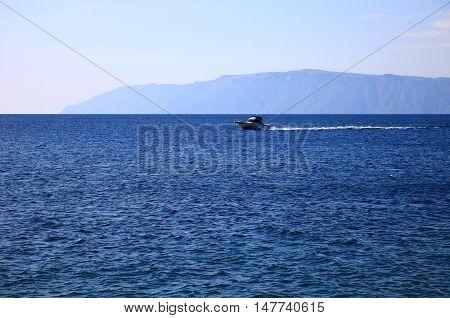 View of the Lake Baikal, autumn. Blue Sky.
