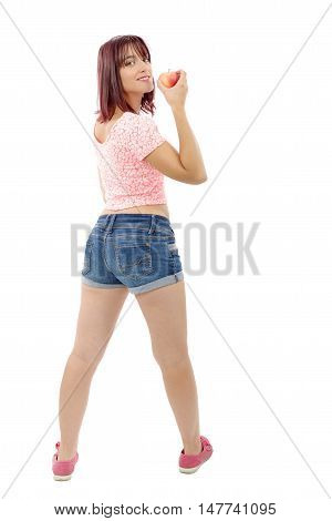 beautiful pretty young woman in pink shirt and denim shorts back view