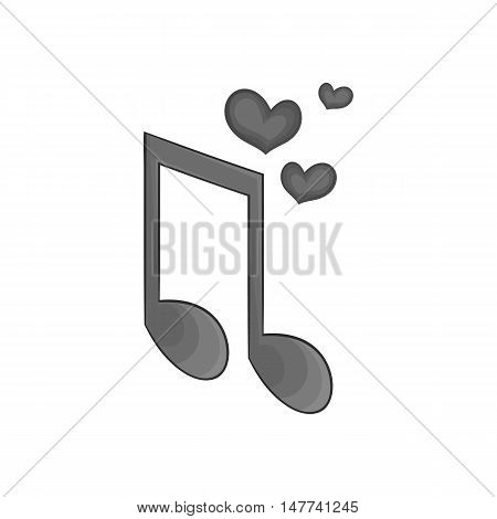 Love heart music note icon in black monochrome style on a white background vector illustration