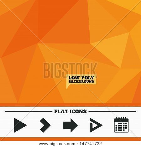 Triangular low poly orange background. Arrow icons. Next navigation arrowhead signs. Direction symbols. Calendar flat icon. Vector