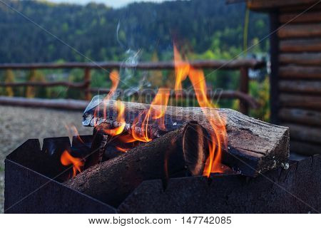 fire for barbecue. The concept of travel and lifestyle