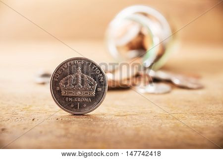 Vintage close up stack silver coins on wooden table Save money for prepare, Save money concept