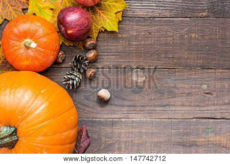 autumn nature concept. autumn fruits and vegetables with colorful leaves pine cones and nuts and on wooden background