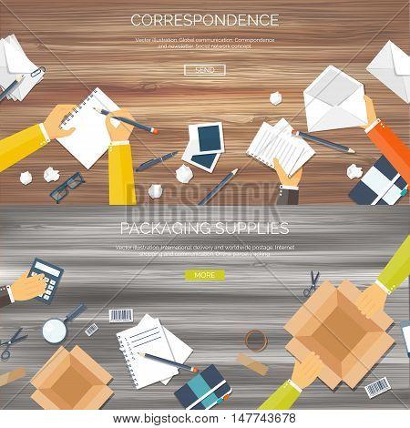 Flat vector illustration backgrounds set. International delivery, worldwide postage. Emailing, online shopping. Envelope, package.