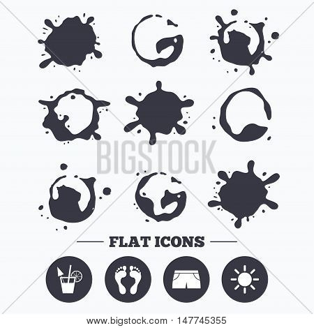 Paint, coffee or milk splash blots. Beach holidays icons. Cocktail, human footprints and swimming trunks signs. Summer sun symbol. Smudges splashes drops. Vector