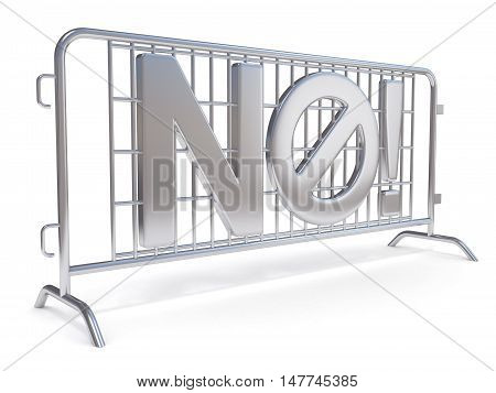 Steel barricades with word NO. Side view. 3D render illustration isolated on white background