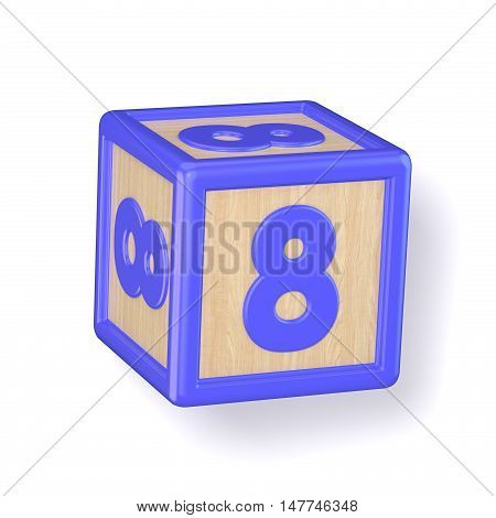 Number 8 Eight Wooden Alphabet Blocks Font Rotated. 3D