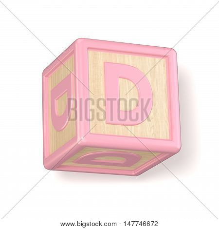 Letter D Wooden Alphabet Blocks Font Rotated. 3D