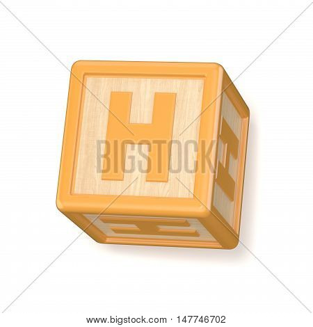 Letter H Wooden Alphabet Blocks Font Rotated. 3D