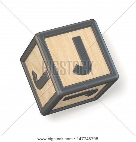 Letter J Wooden Alphabet Blocks Font Rotated. 3D