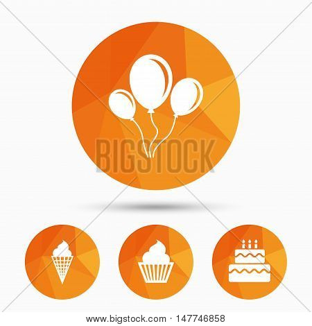 Birthday party icons. Cake with ice cream signs. Air balloons with rope symbol. Triangular low poly buttons with shadow. Vector