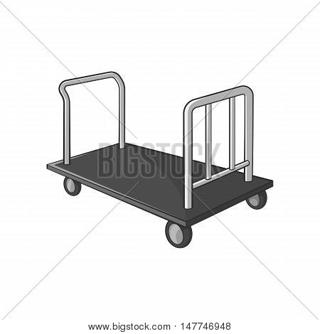 Truck for luggage icon in black monochrome style isolated on white background. Transportation symbol vector illustration