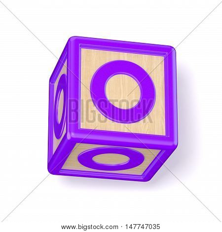 Letter O Wooden Alphabet Blocks Font Rotated. 3D