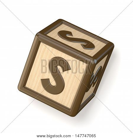 Letter S Wooden Alphabet Blocks Font Rotated. 3D