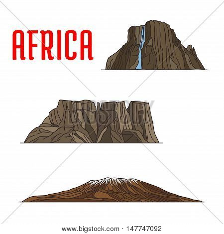 Travel landmarks of Africa thin line icon. Famous african natural landmarks with linear Kibo summit of Kilimanjaro mountain, Drakensberg or Dragons mountains and Tugela Waterfall