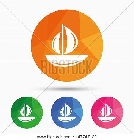 Sail boat icon. Ship sign. Shipment delivery symbol. Triangular low poly button with flat icon. Vector