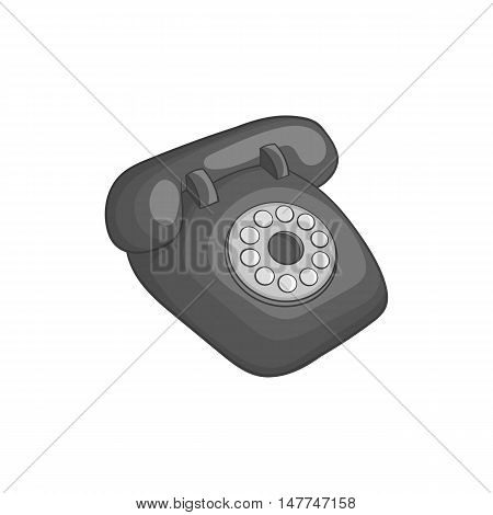 Phone handset icon in black monochrome style isolated on white background. Conversations symbol vector illustration