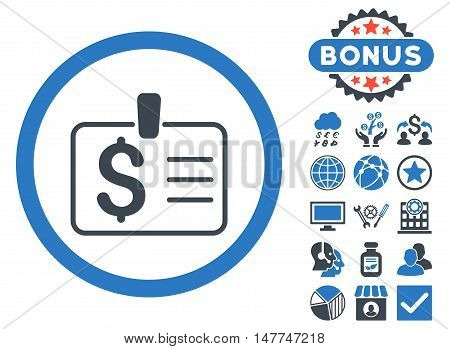Dollar Badge icon with bonus pictures. Vector illustration style is flat iconic bicolor symbols, smooth blue colors, white background.